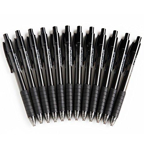 Cosanter - 12 penne a sfera con punta retrattile e inchiostro gel nero
