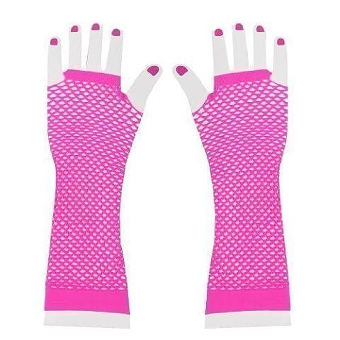 Pair Ladies Elastic Fishnet Fingerless Elbow Length Gloves Arm Warmers