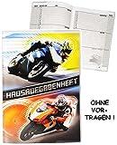 Unbekannt Hausaufgabenheft -  Motorradrennen - Motorräder  - für Faule - ohne Vortragen der Stunden ! - Schule - incl. Schutzhülle & bunten Seiten - für Jungen / Kind..