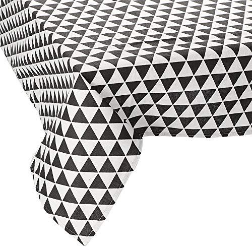 JOTOM  Dreieck Muster Tischdecke Eckig Abwaschbar Tischtuch Pflegeleicht Schmutzabweisend Tischtuch 137 x 200cm(Schwarzes Dreieck)