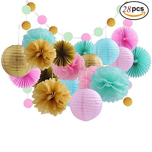 Ailiebhaus 28 Stücke Deko-Set Tissue Seidenpapier Pom Poms Blumen Laternen,Papier Faltfächer und Polka Dot Girlande für Hochzeit Party (Für Eine Party Dekoration)
