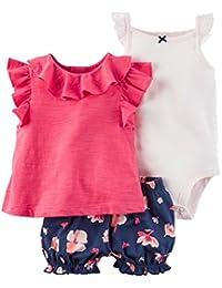 Bebé Niñas Vestido de Manga Corta + Pantalones Cortos + Body, 3 Piezas Conjuntos de