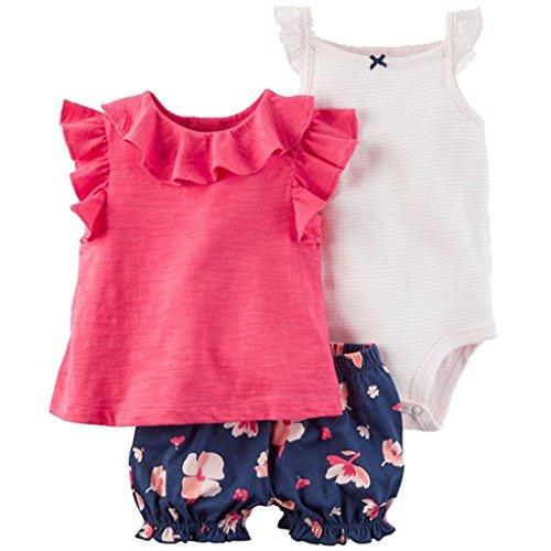 Baby Mädchen 3 Stück Bekleidungsset, Kurzarm-Kleid + Shorts + Body Set, 9-12 Monate