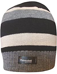 Boys Striped Design Thermal Knit Fleece Lined Thinsulate Winter Beanie Hat