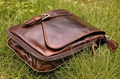 Männer Leder Hüfttasche Reiten Sport Kleine Bein Tasche Taille Packen Messenger Schulter Beutel 611-1 kaffee