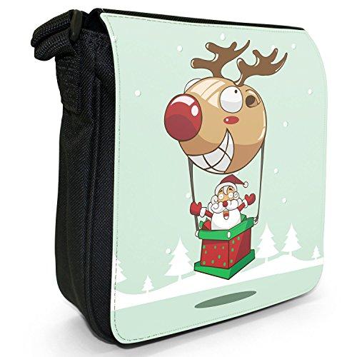 Weihnachtsmann Rentier Weihnachten Spaß & Scherze Kleine Schultertasche aus schwarzem Canvas Weihnachtsmann in Heißluftballon Rentier