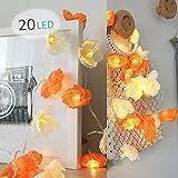 LED Blume Lichterkette, Morbuy Blumen Entwurf 10 /20LED Warmweiß Deko Lampe Batterie Licht für Kinderzimmer Terrasse Garten Weihnachten Halloween (Orange, 3M/20LED)