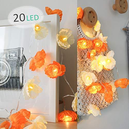 LED Blume Lichterkette, Morbuy Blumen Entwurf 10 /20LED Warmweiß Deko Lampe Batterie Licht für Kinderzimmer Terrasse Garten Weihnachten Halloween (Orange, 3M/20LED) -