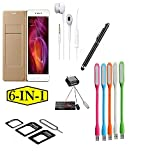 #6: PREGO (6 in 1-Combo Offer ) Full Golden Leather Flip Cover-Black Touch Sceen Pen-Sim Adapter-Handsfree-USB LED LIght-Mini otg adapter For Samsung Galaxy J5 ( Model Year 2016)
