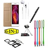 PREGO (6 In 1-Combo Offer ) Full Golden Leather Flip Cover-Black Touch Sceen Pen-Sim Adapter-Handsfree-USB LED LIght-Mini Otg Adapter For Xiaomi Redmi A1 (Mi A1)