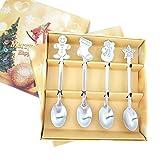 YUX 4Pcs / Set Decoraciones navideñas Cuchara de café