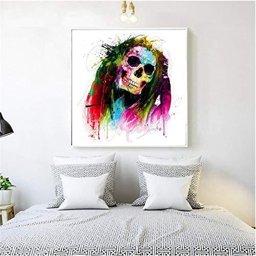 trakt Schädel Gesicht Reggae Porträt Wandkunst Leinwanddruck Halloween Malerei für Wanddekor Wohnkultur 60x60 cm Kein Rahmen ()
