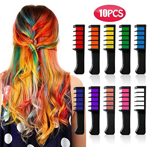 Kyerivs Haarkreide kamm, temporäre haarfarbe kinder, Mädchen, Partys und Cosplay, DIY Festival, für alle Haarfarben Kleid bis für Mädchen Geschenk waschbar 10 Stück - Kleid-haar-kämme