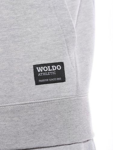 WOLDO Athletic Herren Hoodie Kapuzenpullover Sweatshirt Slim Fit Grey / Blue