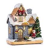 Sconosciuto INNODEPT12Citong Decorazioni di Natale Snow House Villlage con Babbo Natale e Luce LED
