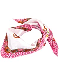 sourcingmap® Magenta Flower Pattern Square Shaped Scarf Neckerchief for Women