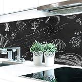 Küchenrückwand Tafelkreide Hart-PVC 0,4 mm selbstklebend - Direkt auf die Fliesen, Größe:220 x 60 cm