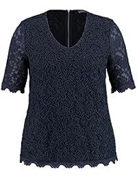 9137582c448ef SAMOON Damen T-Shirt Kurzarm Rundhals Elastisches Spitzenshirt elastisch  unifarben figurumspielend V-Ausschnitt
