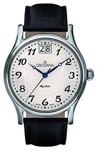 GROVANA 1727.1539 Men's Quartz Swiss Watch with White Dial Analogue Display and Black Leather Strap