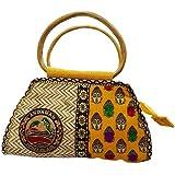 Roy Jute Handicrafts Fancy Women's Handbag (Yellow, Jute)