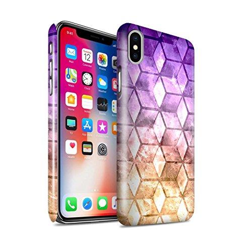 STUFF4 Glanz Snap-On Hülle / Case für Apple iPhone X/10 / Blau/Grün Muster / Bunte Würfel Kollektion Violet / Orange