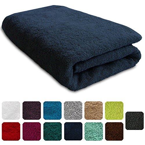 Lanudo® Luxus Duschtuch 600g/m² Pure Line 70x140 mit Bordüre. 100% feinste Frottier Baumwolle in höchster Qualität, Dusch-Handtuch, Badetuch, Badelaken. Farbe: Marine-Blau/Navy