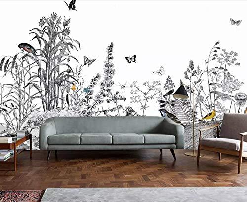 Papier Peint 3D Papillon Noir Et Blanc Reed Bird Jardin Dessiné À La Main Peinture Amovible Sticker Mural Home Decor Art