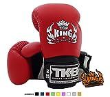 Top King Super Air TKBGSA guantes de boxeo, Muay Thai, talla: 8,10,12,14,16onzas, Color: blanco, negro, rojo, verde, azul, rosa, amarillo, para entrenamiento, pelea, guantes de boxeo, para Muay Thai, artes marciales mixtas, K1, color blanco, rojo y negro, tamaño 12 onzas