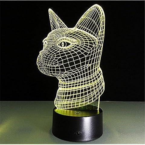CAT Escritorio 3d lámpara 7 colores Cambio Touch interruptor de la mesa de control remoto LED de luz de la noche de iluminación la decoración del hogar accesorios para el