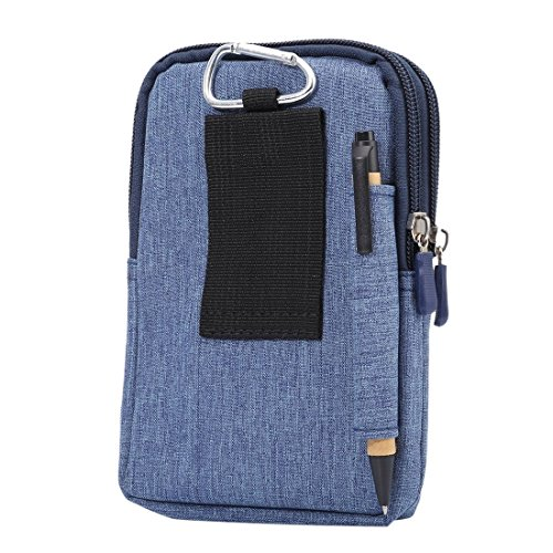 DFV mobile - Universal Multi-functional Vertical Stripes Pouch Bag Case Zipper Closing Carabiner for =>      IPHONE 5C A1529 > Black (17 x 10.5 cm) Blue (17 x 10.5 cm)