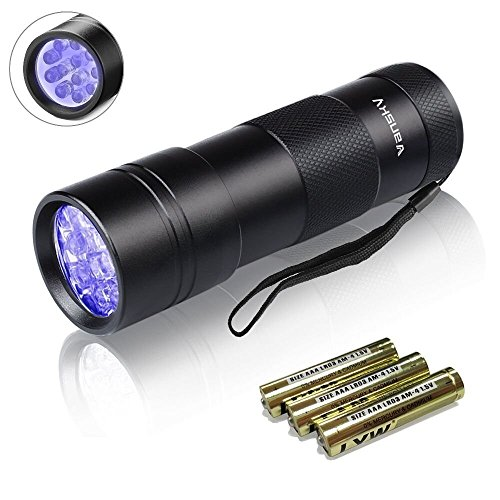 UV Torch, Vansky® Pets Black Light 12Led Lights UV Dogs/Cats Urine Detector, Ultraviolet Flashlight Find Dry Stains on Carpets/Rugs/Floor, 3 x AAA Batteries Included