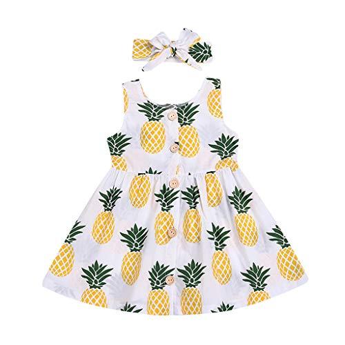 squarex Kinder Kleinkind Kind Baby Mädchen ärmellose Ananas Zitrone gedruckt Party Princess Dress Hair Strap Set Kleidung bequem (Baby Hockey Kostüm)