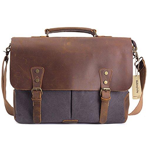 WalkingToSky Herren Leder Umhängetasche Aktentasche Messenger Bag 16 Zoll Laptop Tasche Canvas Schultertasche Grau (Aktentasche Messenger Casual)