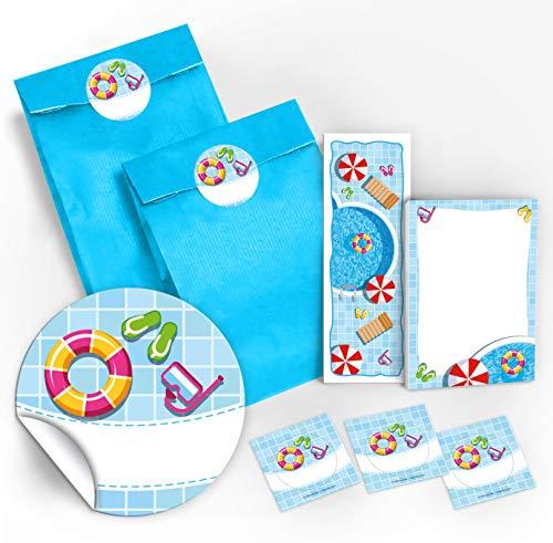 12 Geschenktüten / blau + 12 Aufkleber + 12 Lesezeichen + 12 Mini-Notizblöcke Schwimmbad / Mitgebsel Gastgeschenke für Kinder Mädchen Junge Kindergeburtstag Geburtstag Party-Zubehör Giveaways