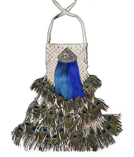 phoenix / tricot à la main du type plume queue de paon / armure toile sac à bandoulière / Sacs bandoulière / Sacs portés épaule décoration 2 type blanc