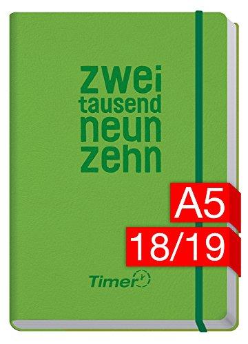 Chäff-Timer Premium A5 Kalender 2018/2019 [KL Grün] 18 Monate Juli 2018-Dezember 2019 - Gummiband, Einstecktasche - Terminkalender mit Wochenplaner - Organizer - Wochenkalender