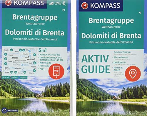 KOMPASS Wanderkarte Brentagruppe, Weltnaturerbe, Dolomiti di Brenta: 5in1 Wanderkarte 1:50000 mit Panorama, Aktiv Guide und Detailkarten inklusive ... Skitouren. (KOMPASS-Wanderkarten, Band 73)