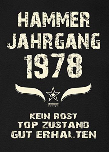 Soreso Design Geschenk 40. Geburtstag Damen Kurzarm T-Shirt Geschenkidee für Sie :-: Hammer Jahrgang 1978 :-: Schwester Mama Freundin Farbe: schwarz Schwarz