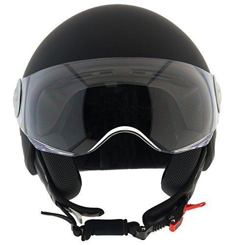Casco-Moto-Demi-Jet-Custom-Scooter-Omologato-ECE-R22-05-Visiera-Sole-Sferica-Antigraffio