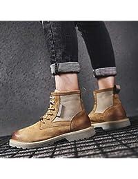 EAOJRSCSA Stivali Martin Stivali Invernali in Pelle Marroni Stivali Moda  Uomo Stivali Alti Maschili da Uomo 31bb1ea6e84