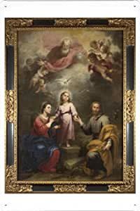 Oil Painting of Bartolome Esteban Murillo - The Heavenly and Earthly Trinities de Enseignes affiche en metal 20*29cm by Wposter