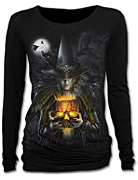 Witching Hour, gothic fantasy metal witch halloween baggy longsleeve top black - M - Spiral