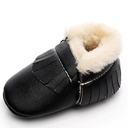 OverDose Unisex-Baby weiche warme Sohle Leder / Baumwolle Schuhe Infant Jungen-Mädchen-Kleinkind -Schuhe 0-6 Monate 6-12 Monate 12-18 Monate Schwarz2-PU Leater