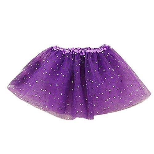 WINWINTOM Capretti Del Bambino Principessa Della Ragazza Star Paillettes Ballet Tutu Gonne (Viola) - Stars Il Partito Collare