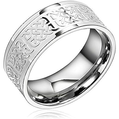 Bishilin 8MM Anello Acciaio Celtic Cuore Knot Uomo Anelli Fidanzamento Anelli Nuzial - Ametista Celtic Knot