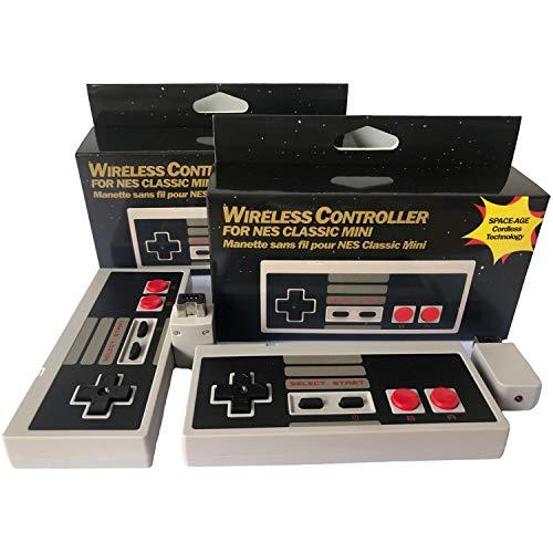 NES Classic Mini Wireless Controller, Tankey 2019, 2 Stück Wireless NES Controller ohne Verkabeltes Gamepad Joypad mit Empfänger für NES Classic Gaming System Konsole (Gaming-konsolen-system)