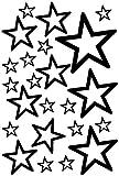plot4u Sterne Aufkleber Set Outline runde Ecken 14x2,5cm6x5cm2x7,5cm1x10cm schwarz