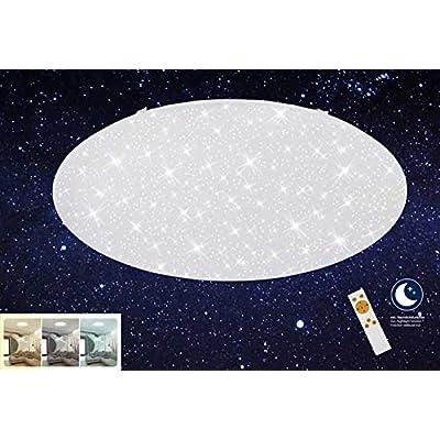 Briloner Leuchten-Plafoniera a LED,a intensità variabile,colore regolabile:bianco caldo fino a bianco freddo,lampada da soffitto con funzione luce notturna,timer, telecomando, diametro: 74 cm, 80 W