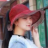 HVTKL Cappello cappello estivo femminile basso, carica il bordo della foglia cappello tessuto a neve cappello a cilindro vuoto cappello cappello da spiaggia cappello a cappello nero berretto a due lat