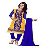 Shree Vardhman Women's Mustered blue Chanderi Embroidered Unstitched Straight Salwar Suit Dress Material